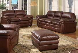 furniture elegant brown leather sofa with three seat and cushion