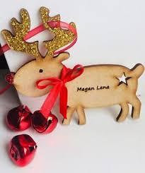 personalised reindeer rudolph tree decoration wooden