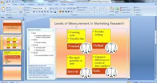 powerpoint diagram for levels of measurement in marketing research