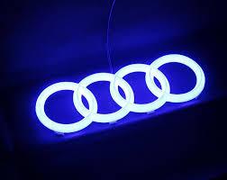 audi large 3d led blue light front car glow logo badge emblem