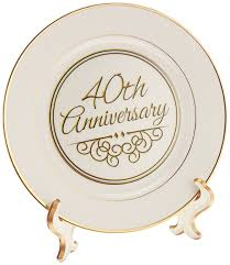 40th anniversary plates 3drose cp 154482 1 40th anniversary gift gold text for celebrating