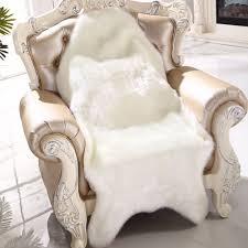 fur chair cover carpet sheepskin chair cover bedroom faux mat seat pad plain