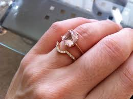 curved wedding band to fit engagement ring morganite engagement ring and wedding band weddingbee