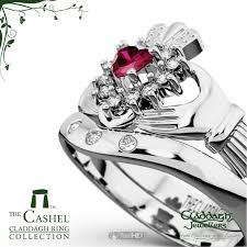 claddagh wedding ring sets cashel ruby 18kt gold claddagh wedding set