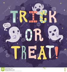 trick or treat halloween illustration with cartoon letters u0026 ghost