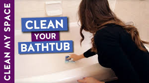 Best Thing To Clean Bathroom Tiles How To Clean A Bathtub Easy Bathtub Cleaning Routine Youtube