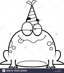 a cartoon illustration of a frog with a party hat looking drunk