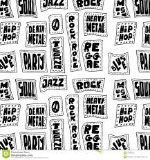 pattern design words doodle music words seamless pattern stock illustration