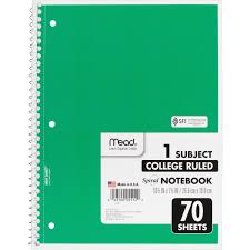 mead 1 subject wirebound ruled notebook 70 sheet college ruled