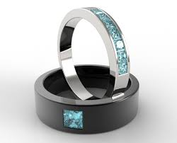 wedding rings for him and unique aquamarine matching bands for him and vidar jewelry