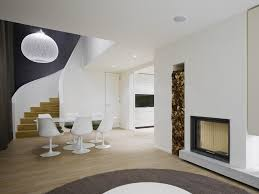interior design a duplex apartment with a fireplace in quant