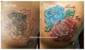 roses cover up tattoo design on chestgwan soon lee tattoo