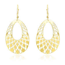 gold teardrop earrings 14k yellow gold teardrop filigree design graduated open teardrop