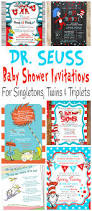Dr Seuss Home Decor by Printable Dr Seuss Baby Shower Invitations For One Baby Twins Or