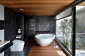 modern bathroom in black with a timber floor glass wall u2013 ideas