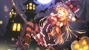 download 1366x768 anime halloween costume witch broom