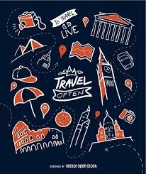 travel wallpaper hand drawn travel wallpaper vector download