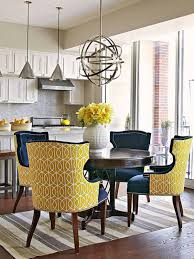 yellow navy blue upholstered dining room chairs comfortable