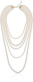 colored pearls necklace images Gold tone cream color pearl multi strand necklace 34 jpg