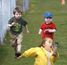 Bubble Girl Meme - little girl running away from two boys with a snickers bar chubby