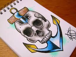 skull anchor flash design by frosttattoo on deviantart