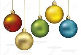 christmas ornaments hanging on gold thread royalty free cliparts