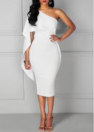 white dresses knee length white one shoulder dress liligal usd 34 90