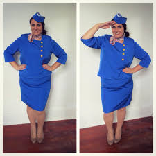 Halloween Flight Attendant Costume Retro Flight Attendant Costume Thrifted Crafted Size