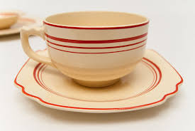 homer laughlin vintage stripe homer laughlin century shape cup and saucer set with