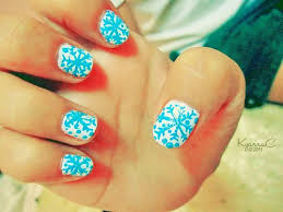 cute blue snowflake christmas nail art for girls hand paint