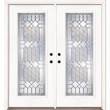 double door front doors exterior doors the home depot 66 in x 81 625 in mission pointe zinc full lite unfinished