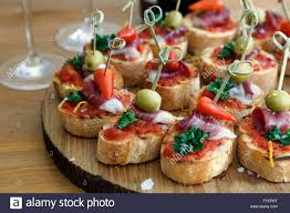 canapes finger food pinchos tapas canapes finger food stock photo