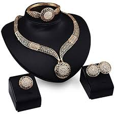 earring chain necklace images Fashion women jewelry sets bride wedding party gold plated chain jpg