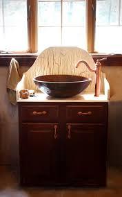 Copper Bathroom Vanity by Small Bathroom Decoration Using Round Brown Copper Bathroom Vessel
