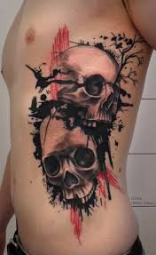 beautiful black skulls with tree and birds tattoo on ribs by ilona