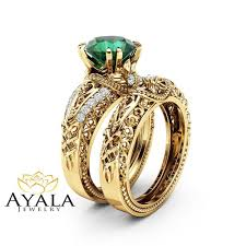art deco emerald engagement ring set 14k yellow gold rings 2 carat