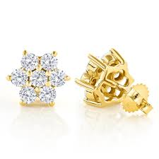 gold diamond stud earrings 2 5 carat diamond stud earrings cluster design 14k gold