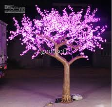 cherry blossom led lights with artificial tree outside