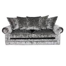 Grey Silver Sofa Crushed Velvet Furniture Sofas Beds Chairs Cushions