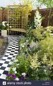 small compact busy garden rear path private personal space design