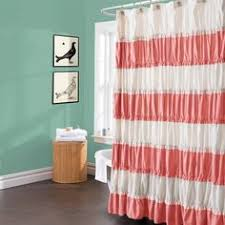 Coral And Turquoise Curtains Avalon Coral Shower Curtain By Monika Strigel 68 00 House