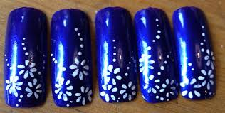 white flowers on dark blue nails nail art gallery
