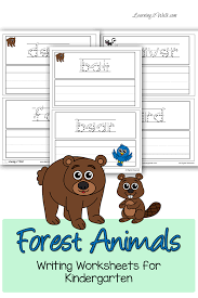 forest animals writing worksheets for kindergarten writing