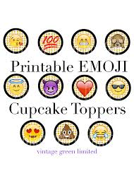 emoji printable cup cake toppers instant by vintagegreenlimited
