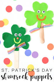 felt shamrock craft stick puppets typically simple