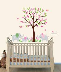 amazon com fabric tree wall decals animal mural for nursery amazon com fabric tree wall decals animal mural for nursery pink elephant wall art for baby baby