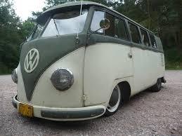 green volkswagen van 1957 palm green sand green vw split screen standard microbus