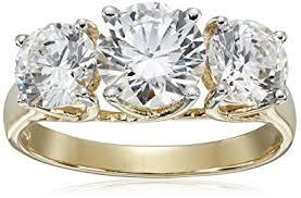 amazon black friday jewelry swarovski amazon com 10k gold swarovski zirconia 3 stone ring 3 cttw