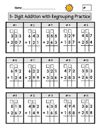 triple digit addition with regrouping worksheets worksheets