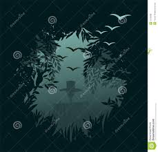 spooky forest background for halloween in vector royalty free